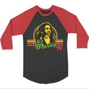 Bob Marley '79 Retro baseball tee Jamaican colors